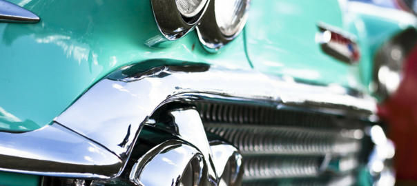 front grill of an old restored car