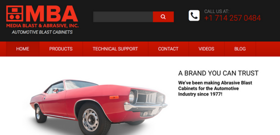screenshot of new MBA Auto Blast Cabinets website
